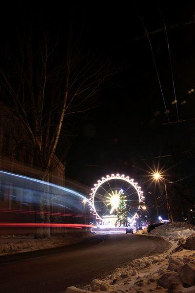 Cityscape Citylights Christmas Tree Ferris Wheel