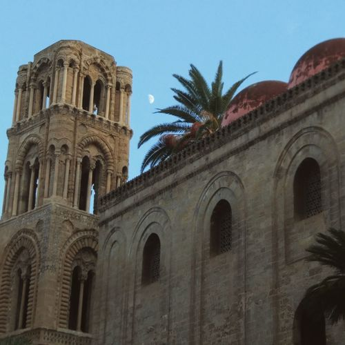 Beautiful Moon rising up in beautiful Sky of Palermo Religion History Architecture Landscape