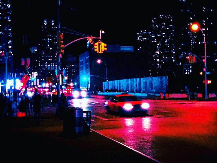 Night Illuminated Car Transportation Traffic City Street Land Vehicle City Life Building Exterior City Street Street Light Mode Of Transport Road Architecture Outdoors Built Structure Stoplight Nightlife No People Taxi New York City Cyberpunk Vaporwave