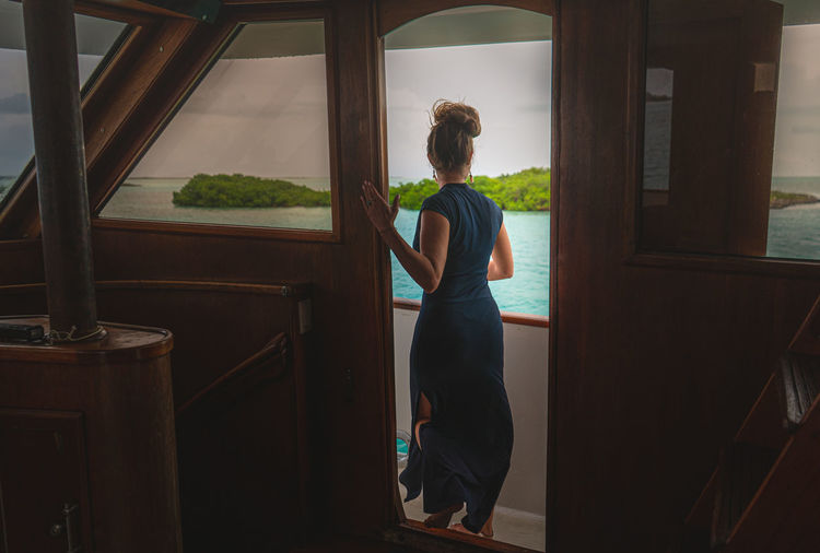 Rear view of woman looking through window at home