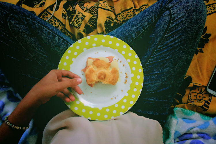 Low section view of woman holding cookie in plate