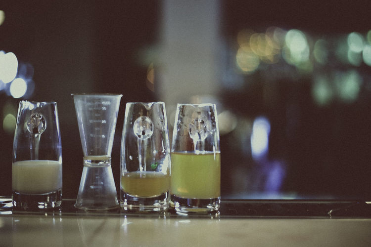 Drink in glasses on bar counter