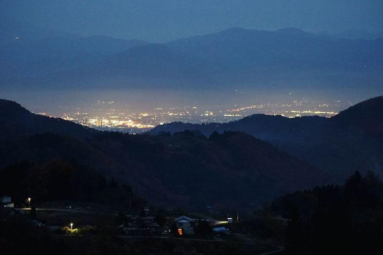 里山より夜景 Japan Nihgt Life Moonlight Landscape Clouds And Sky Mountains Urban Geometry