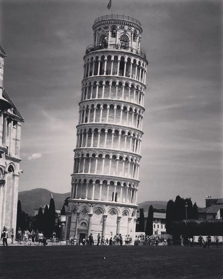 Architectural Column Architectural Feature Architecture Building Exterior Built Structure Capital Cities  City City Life Cloud Cloud - Sky Day Exterior Famous Place Lifestyles Monochrome Photography Outdoors Pisa Tower Pisa, Italy Sky Tall Tall - High Tourism Tourist Tower Of Pisa Travel Destinations