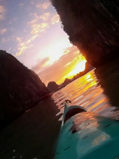 Halong Bay Sunset (c) Julie Gatto November 2015, Vietnam Nofilter Vietnam Vibrant Travel Photography Sunset Beauty In Nature Halongbay Aroundtheworld Idyllic Tranquility Julie Gatto Qumox Tranquil Scene Famous Place The Great Outdoors With Adobe