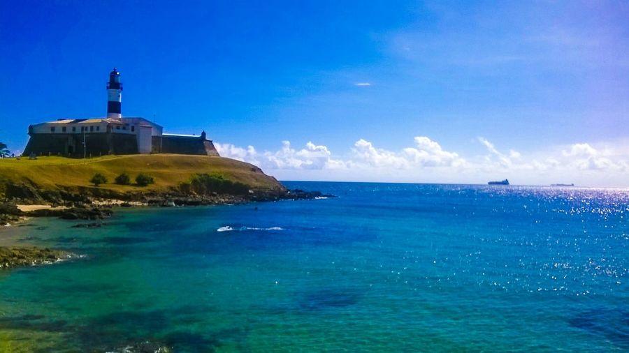Lighthouse Beach Sun Brazil Salvador Sea And Sky Farol