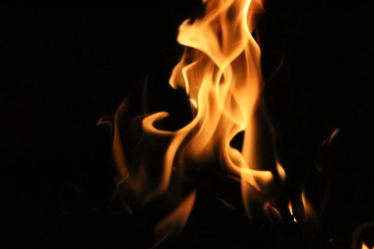 Black Background Bonfire Burning Close-up Darkroom Fire - Natural Phenomenon Firewood Flame Glowing Heat - Temperature Motion No People Orange Color Vibrant Color