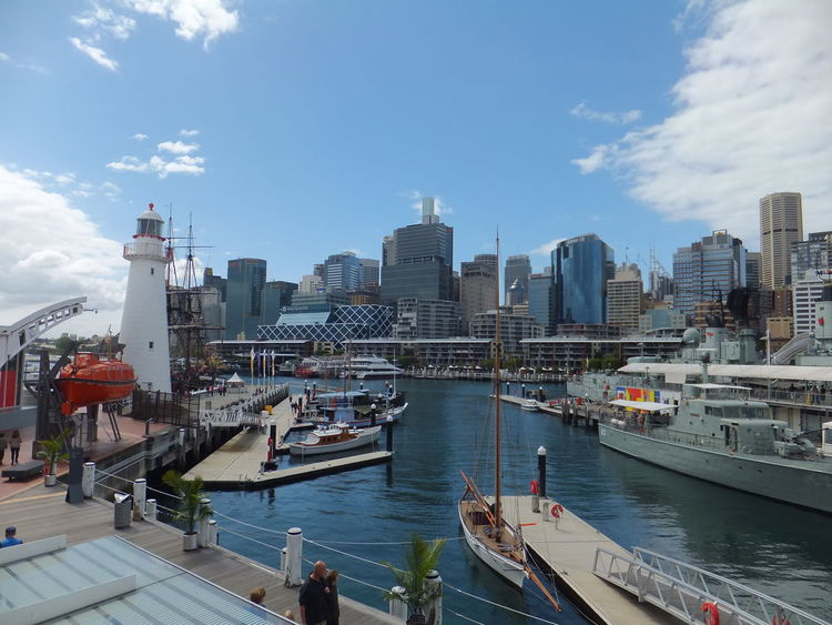 City Darling Harbour Sydney Australia Boats Buildings Cityscape Maritime Museum Water Ships Wharf Adventures In The City