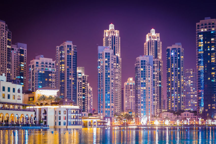 Marina Dubai City Architecture Building Exterior Built Structure Office Building Exterior Building Skyscraper Cityscape Urban Skyline Illuminated Water Landscape City Life Residential District Travel Destinations Night Sky Reflection Modern No People Financial District  Outdoors Apartment