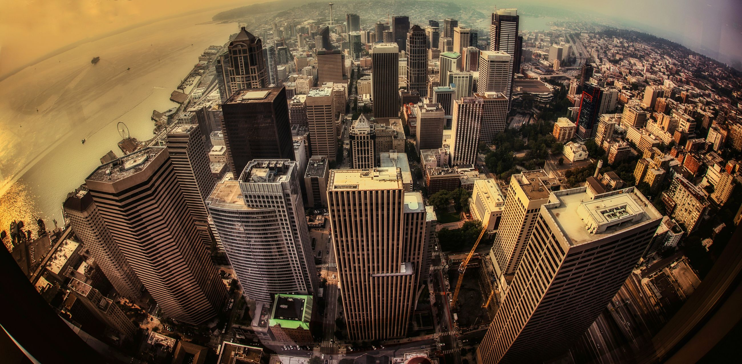 high angle view, indoors, city, abundance, pattern, cityscape, building exterior, architecture, metal, built structure, no people, large group of objects, close-up, skyscraper, day, sunlight, modern, focus on foreground, repetition
