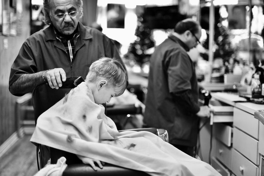 Joe's Barbershop Childhood Working Boys Real People Child Sitting People Occupation Barber Shop Barberlife Indoors  Blackandwhite One Boy Only Males  EyeEmNewHere