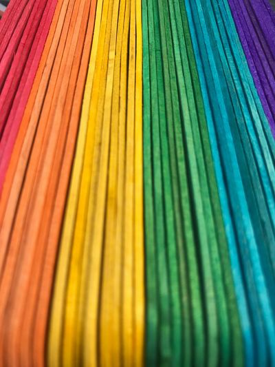 High angle view of colorful strings