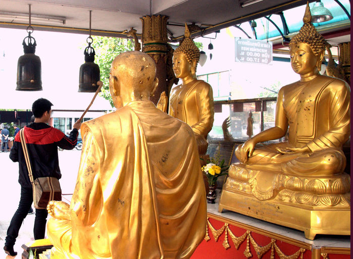 ASIA Bells Bells Are Ringing Buddha Buddha Statue Buddha Statues Buddhism Day Gold Gold Colored Golden Color Human Representation Idol Indoors  Male Likeness Men People Religion Ring Bell Sculpture Spirituality Statue Thailand Traditional Thailand Travel Thailand Trip