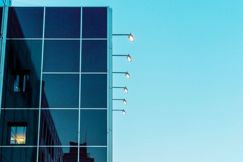 Blue hour... Arc+ Reflection Architectural Feature Architecture_collection Lights Architecture Built Structure Clear Sky Low Angle View Building Exterior Blue No People Window Outdoors Sky City