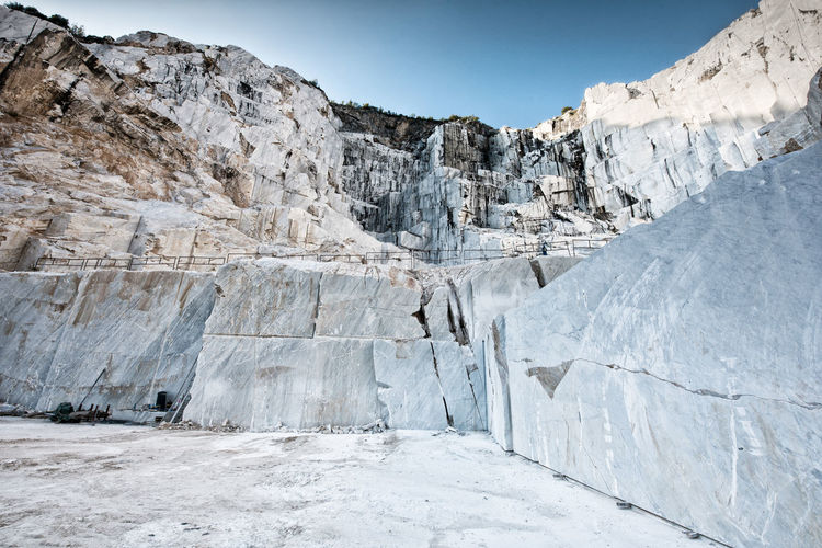 Open cast mining pit for italian carrara marble