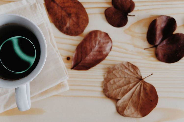 Autumn Autumn Leaves Close-up Coffee Coffee Cup Day Directly Above Fall Leaves Fall Season Food Food And Drink Freshness Indoors  No People Refreshment Relaxation Table Wooden Wooden Floor Wooden Texture Wooden Texture Background