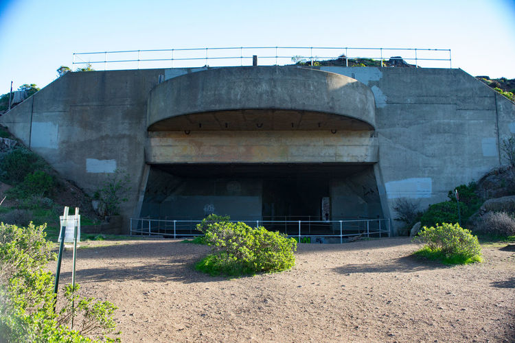 """Abandoned 16"""" gun emplacement overlooking the approach to San Francisco Bay. Abandoned Building Exterior Bunker Concrete Defense Deterioration Guns Military War"""