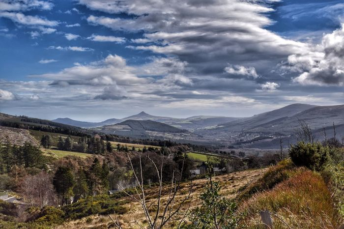 Mountain Cloud - Sky Sky Nature Beauty In Nature Scenics Tree Tranquil Scene Outdoors Tranquility Physical Geography Landscape Mountain Range No People Day Wicklow Mountains  Wicklow Ireland Irelandinspires Sugarloaf Garden Of Ireland Irishlandscape Wild Mountain View Mountains And Valleys First Eyeem Photo