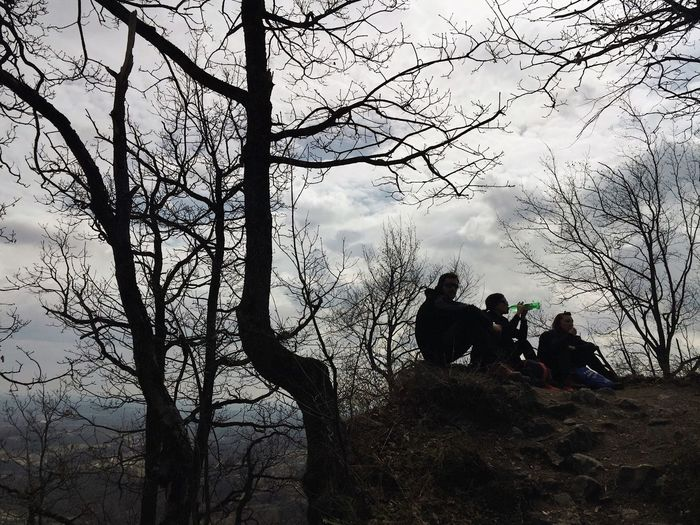 People chillin at the top of ruins of Okic old town fortress (elevation 499 m), Plesivica, Croatia, 2017. Okic Fortress Ruins Forest Croatia Samoborsko Gorje Clouds People Chillin' Chilling Chill Tree Bare Tree Silhouette Beauty In Nature Hiking Leisure Activity