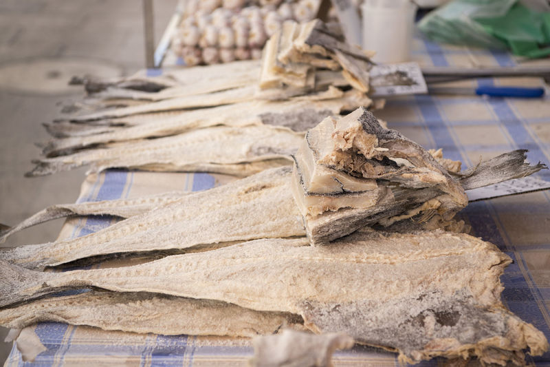 Dried fish at market for sale