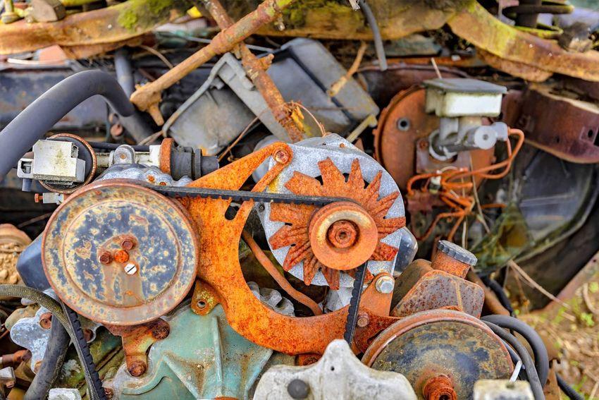Abandoned Close-up Damaged Day Decline Deterioration Engine Junkyard Land Vehicle Machine Part Machinery Metal Mode Of Transportation No People Obsolete Old Outdoors Run-down Rusty Transportation Wheel