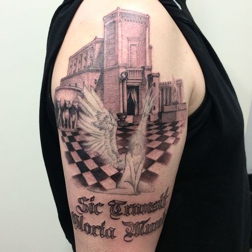 Solomons temple Tattoo (angel not by me) Free Mason Symbology
