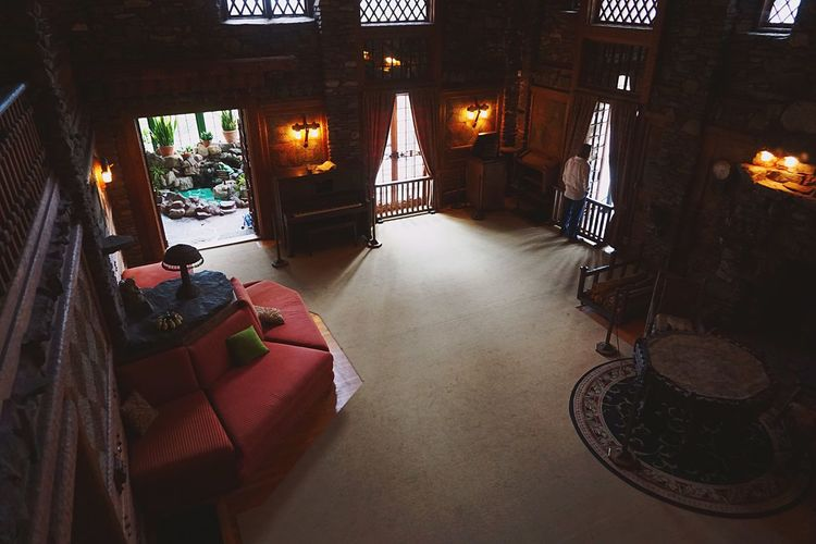 Inside the castle Gilette Gillette Castle Connecticut Sherlock Holmes Castle Inside The Castle The Great Room Looking Down At The Window Couch