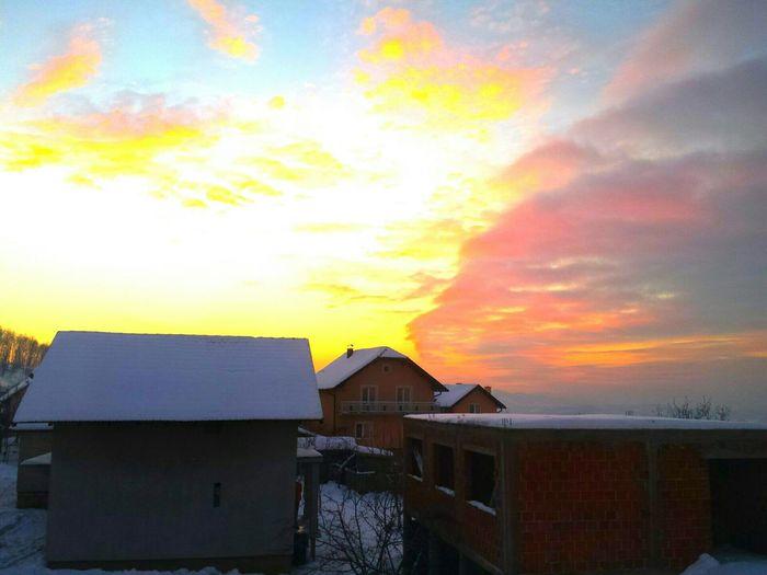Winter Sunset Sky Beauty Beautiful Teočak Bosnia Herzegovina Cloudy