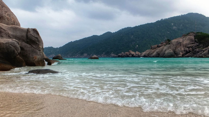 Beach Beauty In Nature Cliff Cloud Cloud - Sky Coastline Idyllic Mountain Mountain Range Nature Rock Rock - Object Rock Formation Scenics Sea Shore Sky Tranquil Scene Tranquility Water Kohnangyuan Spotted In Thailand