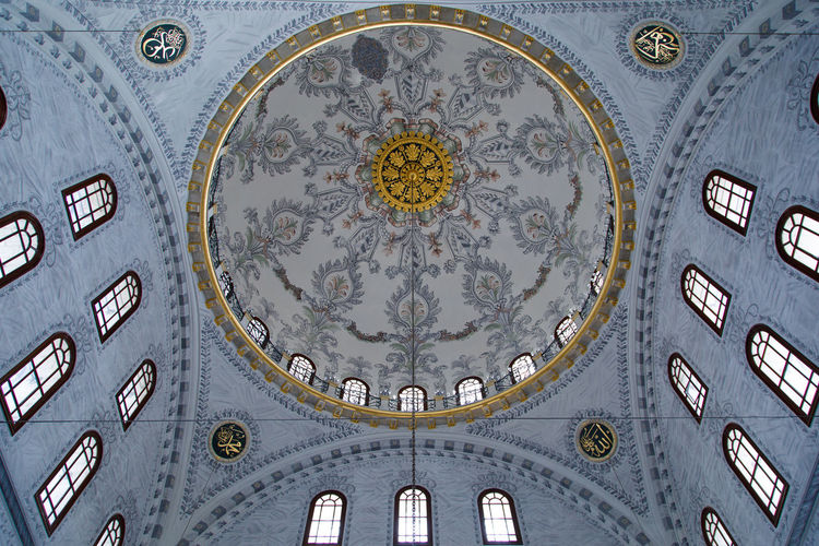 Mosque Celling Architecture Built Structure Low Angle View Building No People Ceiling Geometric Shape Shape Pattern Dome Belief Religion Indoors  Circle Place Of Worship Design Directly Below Art And Craft Ornate Mural Cupola
