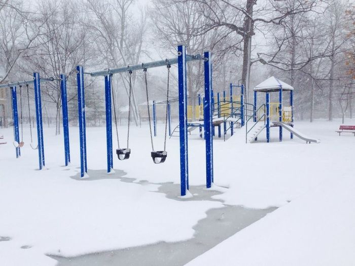 It's Cold Outside Playground Structure Winter Wintertime Blue Post Swings Winter Showcase: January