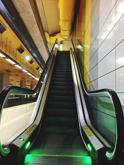 Yellow Architecture Indoors  Escalator Steps And Staircases Staircase Built Structure Convenience Transportation Railing Illuminated No People Low Angle View The Way Forward Technology Public Transportation Metal Modern Subway Station Direction Ceiling