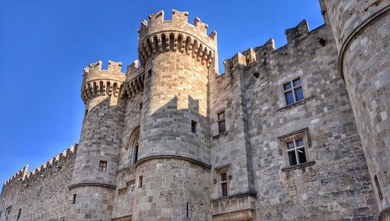 Blue Castle Architecture Building Exterior History Horizontal Tower Travel Destinations Cultures Medieval City Outdoors Sky No People Day Rhodes Rhodes Island Castle Towers Tower Old Town Greece Travel Travel Photography
