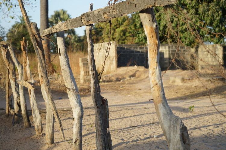 Wooden fence on field
