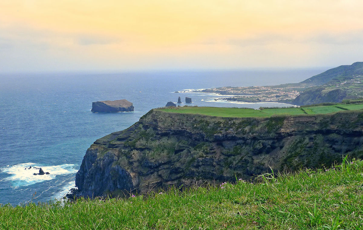 Ponta Delgada, Flores Island, Azores Beauty In Nature Cliff Day Grass Horizon Over Water Nature No People Outdoors Rock - Object Rugged Coastline Scenics Sea Sky Tranquil Scene Tranquility Water