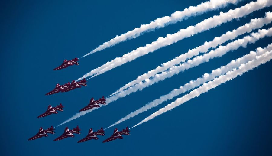 Red Arrows airplane exhibition Airplane Cloud - Sky Sky
