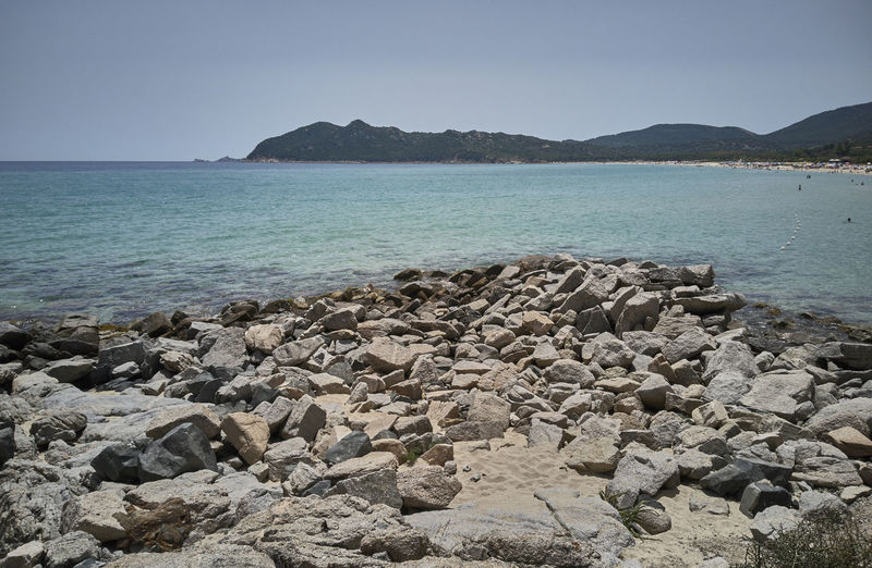 Beach Beauty In Nature Clear Sky Day Idyllic Land Mountain Nature No People Outdoors Pebble Rock Rock - Object Rocky Coastline Scenics - Nature Sea Sky Solid Tranquil Scene Tranquility Water