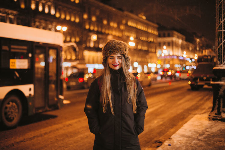 i in the city street this winter Beautiful People Beauty Cheerful City City Life City Street Happiness Looking At Camera Night One Person One Woman Only People Portrait Smiling Street Travel Travel Destinations Warm Clothing Winter Women