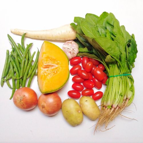 Directly Above Shot Of Vegetables On White Background