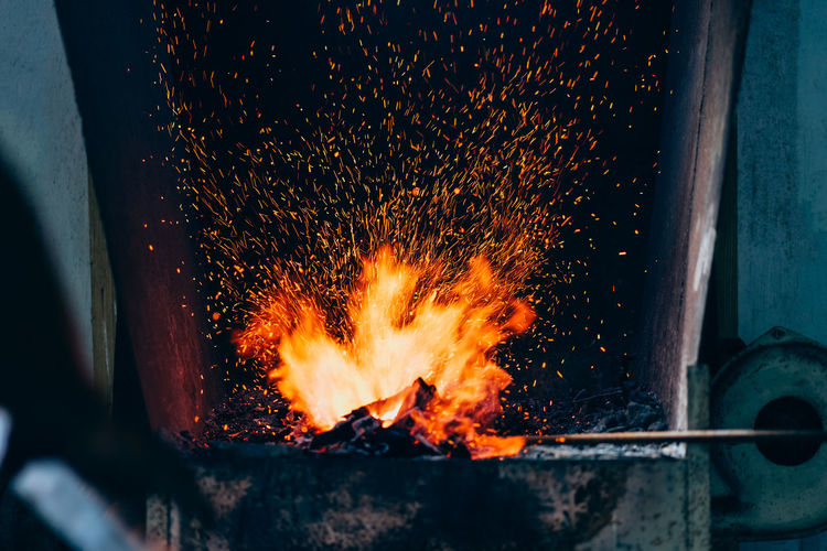 Blurred motion of fire pit in metal industry