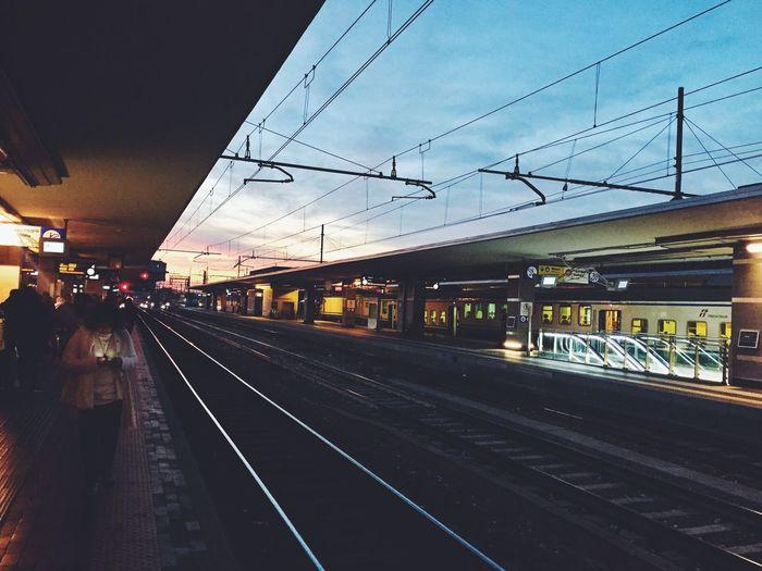 Bologna train station Transportation Railroad Track Rail Transportation Public Transportation Travel Railway Bologna Sunset Sky