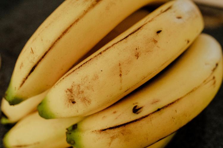 High angle view of bananas on table