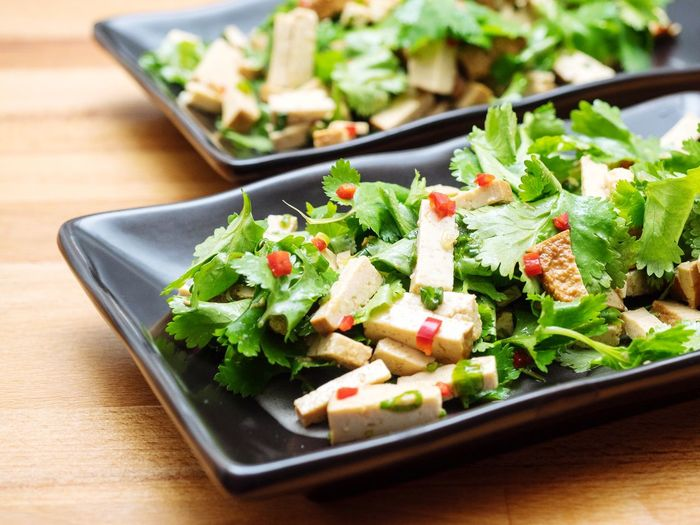Close-up of fresh tofu salad served in plate