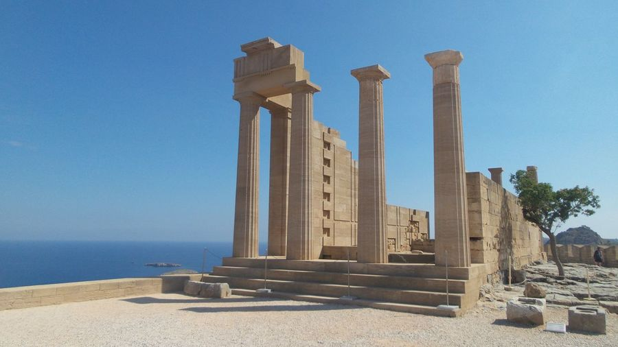 Temple of athena by sea against clear sky