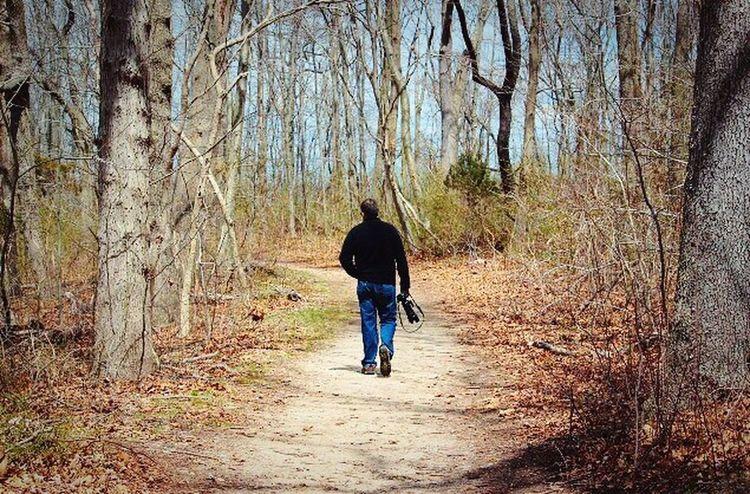 Man Walking From Behind Man Walking In The Woods Hiking
