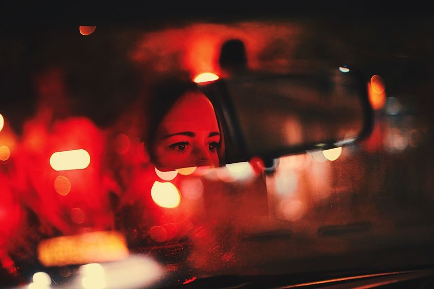 Wing mirror lover Eyes Mirror Headlight Lights Driver Car Red Rain Drive Driving Wing Mirror  Car Night One Person Illuminated Real People Land Vehicle Mode Of Transport Transportation Defocused Focus On Foreground Lifestyles Close-up Shades Of Winter Love Yourself Visual Creativity
