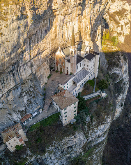 High angle view of buildings on rock