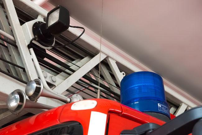 FireFighting  Firefighter Firefighter Truck Ladder Red Aerial Ladder Basket Blue Blue Light Close-up Day Fire Firebrigade Firefighter Equipment Firefighters Firefighters In Action Go-west-photography.com Indoors  No People Red Turntable Ladder
