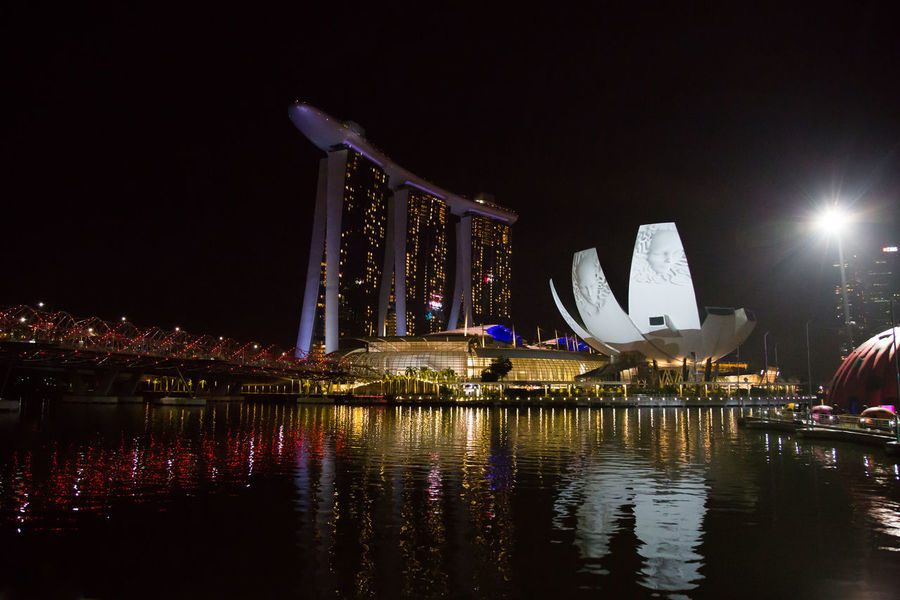 Marina Bay Sands Night Lights Architecture Building Exterior Built Structure City Illuminated Luxury Modern Nature Night No People Outdoors Reflection River Sky Skyscraper Tourism Transportation Travel Travel Destinations Water Waterfront