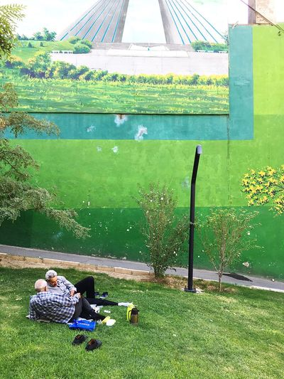 People relaxing in park